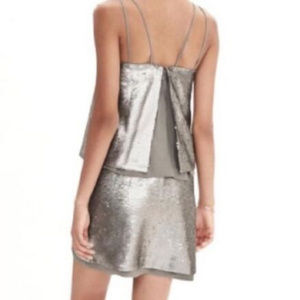 NWOT Banana Republic Pewter Matte Sequin Mini